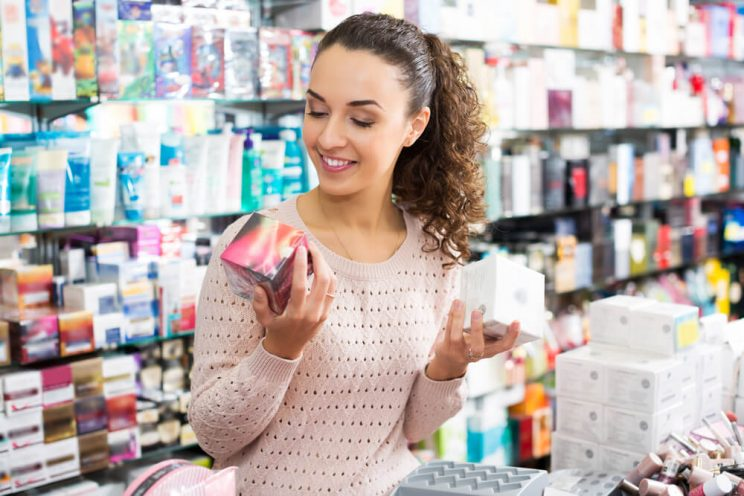 Woman shopping for skincare