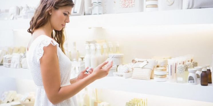 Woman shopping for skincare products